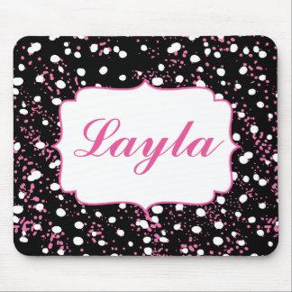 黒く、白いおよびピンクのかわいらしい落書きのスタイル マウスパッド