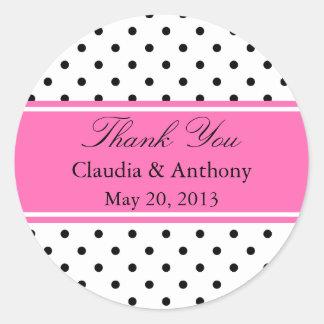 黒く、白いおよびピンクの水玉模様の結婚式は感謝していしています ラウンドシール