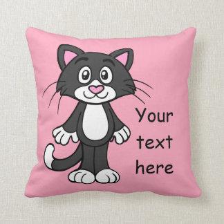 黒く、白いおよびピンク猫の枕 クッション