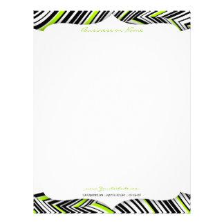 黒く、白い及びグリーン・ウェーブレターヘッド レターヘッド