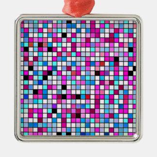 黒く、白およびパステルの正方形のタイルパターン メタルオーナメント