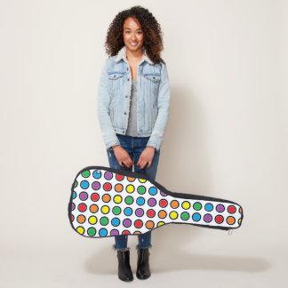 黒く、白および虹の水玉模様 ギターケース