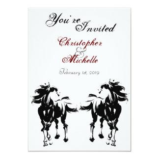 黒く、白くおよび赤い馬の結婚式招待状 カード