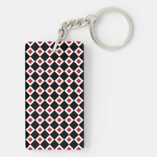 黒く、白く、赤いダイヤモンドパターン キーホルダー