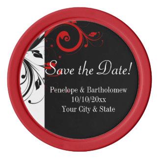 黒く、白く、赤い渦巻の結婚式の保存日付 ポーカーチップ