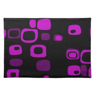 黒く、紫色、すみれ色のレトロの抽象美術 ランチョンマット