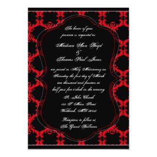 黒く、赤く、および白いダマスク織の結婚式招待状 カード