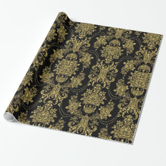黒く、金属金ゴールドの花のダマスク織パターン ラッピングペーパー