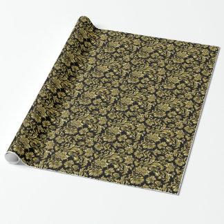 黒く、金属金ゴールドの花のダマスク織4パターン ラッピングペーパー