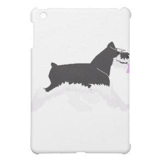黒く、銀製のシュナウツァー iPad MINIケース