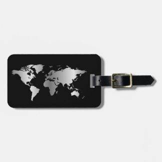 黒く、銀製の世界地図のエレガントな荷物のラベル ラゲッジタグ