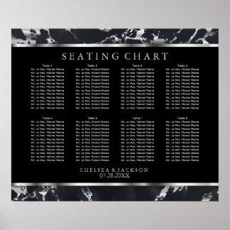 黒く、銀製の大理石- 10着席の図表 ポスター