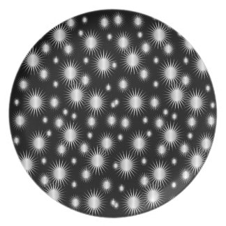 黒く、銀製の星パターンプレート プレート
