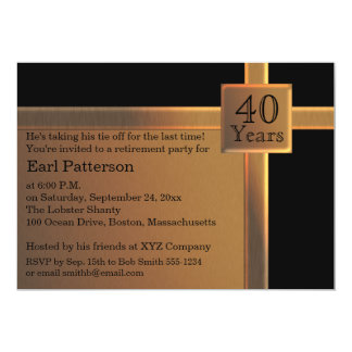 黒く、銅の退職の招待状 カード