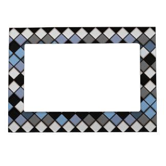 黒く、青および灰色のダイヤモンドのタイルパターン マグネットフレーム