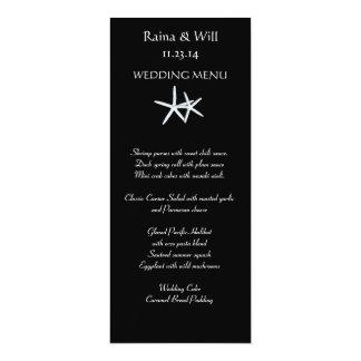 黒く、高い結婚式メニューカードのヒトデ カード