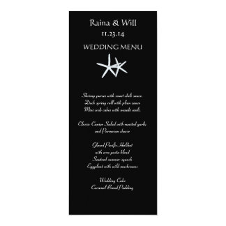 黒く、高い結婚式メニューカードのヒトデ 10.2 X 23.5 インビテーションカード