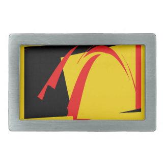 黒く、黄色および赤いレトロの抽象芸術のアールデコ 長方形ベルトバックル