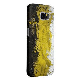 黒く、黄色、白い抽象美術 SAMSUNG GALAXY S6 ケース