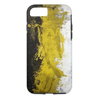 黒く、黄色、白い点の抽象美術 iPhone 8/7ケース