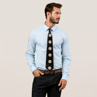 黒でカーキ色縦円のライン ネクタイ