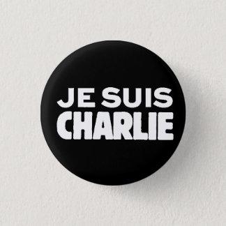 黒でチャーリー白のJe Suisチャーリー私AM 3.2cm 丸型バッジ