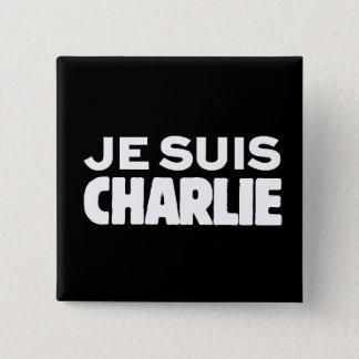 黒でチャーリー白のJe Suisチャーリー私AM 5.1cm 正方形バッジ