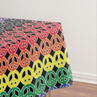 黒で積み重なる虹のピースサイン テーブルクロス