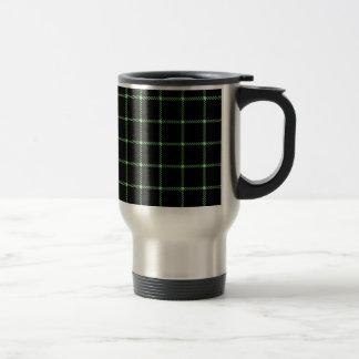 黒で薄緑の2つのバンド小さい正方形- トラベルマグ