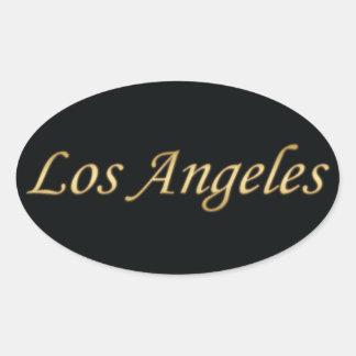 黒で金ロサンゼルス 楕円形シール