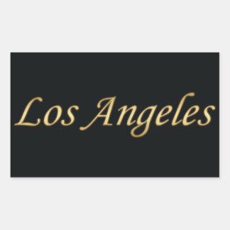 黒で金ロサンゼルス 長方形シール