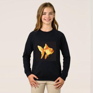 黒で隔離される金魚の低い多角形 スウェットシャツ