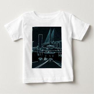 黒で青く光るロンドンのトンネル ベビーTシャツ