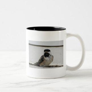 黒によっておおわれる《鳥》アメリカゴガラのマグ ツートーンマグカップ