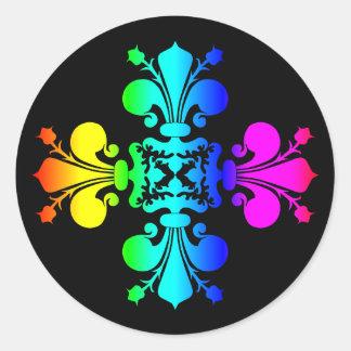 黒によってすごいかわいいの虹のダマスク織 ラウンドシール