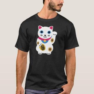 黒によってすごいかわいく幸運な猫のワイシャツ Tシャツ