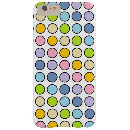 黒によって輪郭を描かれるパステル調の虹の水玉模様 スリム iPhone 6 PLUS ケース