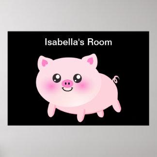 黒のかわいいピンクのブタ ポスター