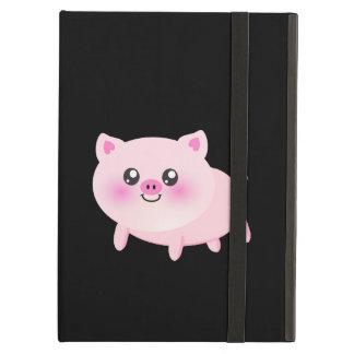 黒のかわいいピンクのブタ iPad AIRケース