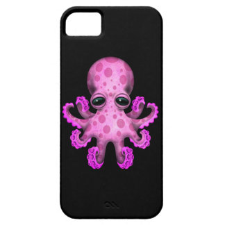 黒のかわいいピンクのベビーのタコ iPhone SE/5/5s ケース
