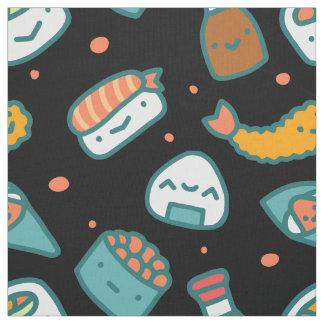 黒のかわいく幸せで継ぎ目が無い寿司パターン ファブリック