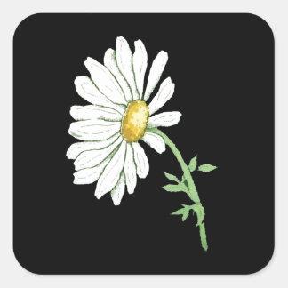 黒のかわいらしく白いデイジー スクエアシール