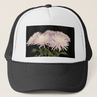 黒のすみれ色の白い菊の花 キャップ