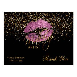 黒のそうメーキャップアーティストのピンクの唇 葉書き