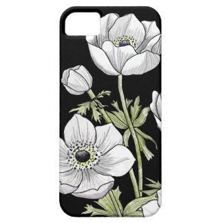 黒のアネモネの植物の花 iPhone SE/5/5s ケース
