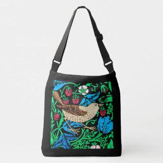 黒のウィリアム・モリスの鳥及び花のタイル、 クロスボディバッグ