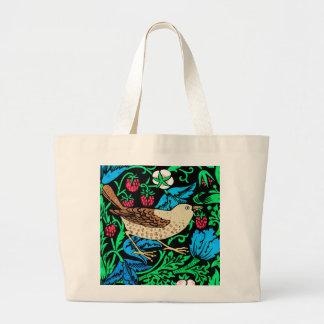 黒のウィリアム・モリスの鳥及び花のタイル、 ラージトートバッグ