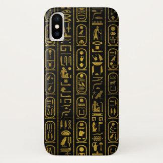 黒のエジプトの古代金ゴールドのヒエログリフ iPhone X ケース