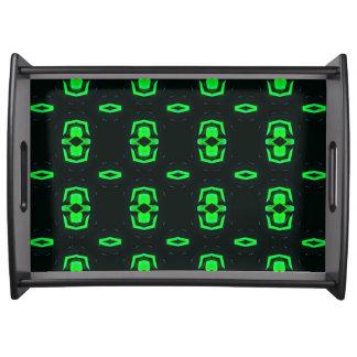 黒のエメラルドグリーンの幾何学的なパターン トレー
