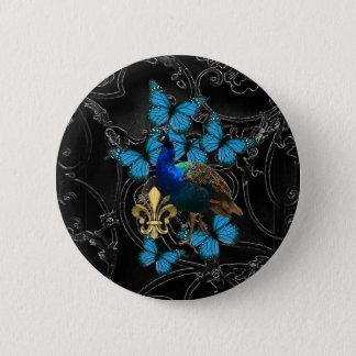 黒のエレガントな孔雀そして青い蝶 5.7CM 丸型バッジ